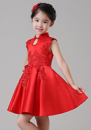 2018 Spring New Girls Cheongsam Princess Dress Flower Girl Birthday Costumes Embroidered Flower Tutu Dress or With wrap 2pcs
