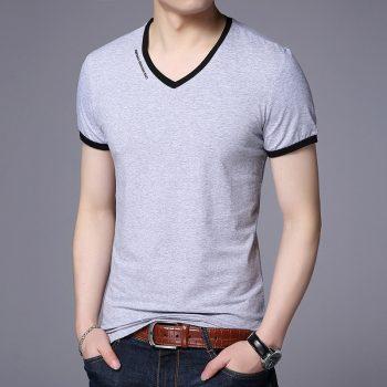 New Mens T Shirts Fashion Summer V-Neck Slim Fit Short Sleeve T Shirt Men Mercerized Cotton Brand-Clothing Casual Men T-Shirt