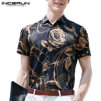 INCERUN 2019 Silk Satin Men Shirt Floral Print Lapel Neck Short Sleeve Vintage Camisa Masculina Stylish Soft Brand Shirt Men 5XL