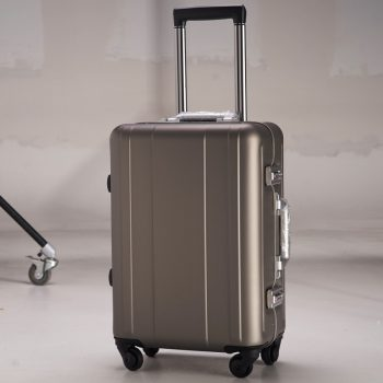 100 Aluminium Rolling Luggage Trolley Password Box 20′ Boarding Suitcase Women Travel Bag Trunk