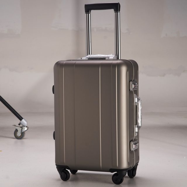 100 Aluminium Rolling Luggage Trolley Password Box 20′ Boarding Suitcase Women Travel Bag Trunk