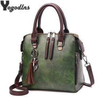 Vintage PU Leather Ladies HandBags Women Messenger Bags TotesTassel Designer Crossbody Shoulder Bag Boston Hand Bags Hot Sale