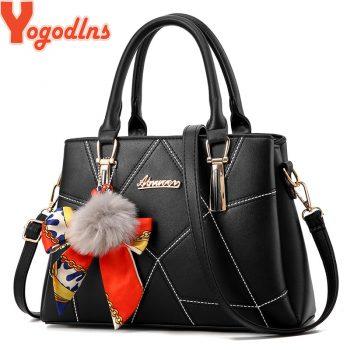 Yogodlns Women's bag 2019 Spring New Hair Ball Handbag Scarf Bucket Bath Bag Mother Bag Women Shoulder Messenger Bag