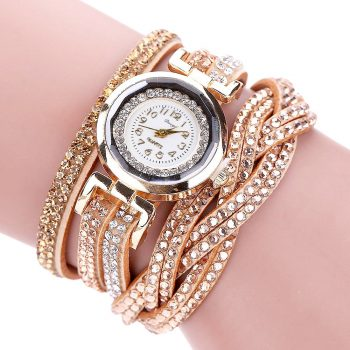 Women's Watches reloj mujer Luxury Crystal Women Gold Bracelet Quartz Wristwatch Rhinestone Watches Freeshipping & Wholesale  #D