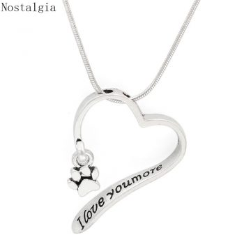 Nostalgia I Love You More Open Heart Cat Dog Paw Print Necklace Snake Chain Jewlery For Women