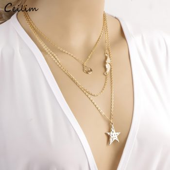 Bohemian Layered Necklace for Women Gold Color Link Chain Star Necklace Fashion Chokers Sweater Jewlery 2019 New