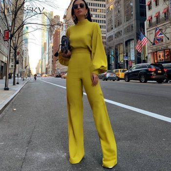Lossky Jumpsuit 2019 Women Long Sleeve Long Pant White Ladies Romper Suit Elegant Half Turtleneck Wide Leg Trouser Fall Clothing
