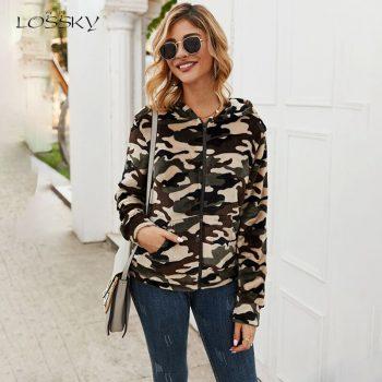 Lossky Hoodies Sweatshirts Tops Women Camouflage Autumn Winter Plush Warm Cardigan Long Sleeve Zip Up Hoody Jacket Clothes 2019