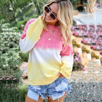Lossky Women Sweatshirts Rainbow Gradient Printed Long-sleeved Tops Plus Size 5XL New Autumn Winter Casual Clothing Female 2019