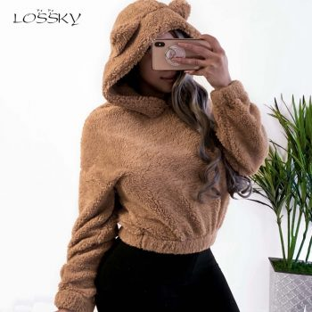 Lossky Hoodie Sweatshirt With Ears Crop Top Short Women Long Sleeve Pullovers New White Autumn Winter Plush Warm Ladies Clothing