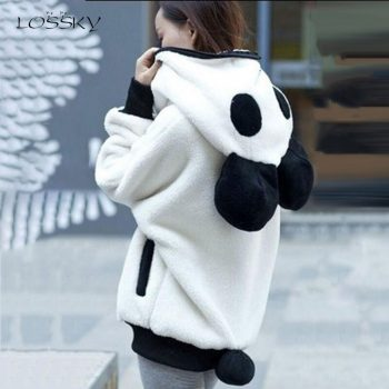 Lossky Women Jacket Warm Black And White Panda Hooded Coat Zipper Lady Teddy Bear Autumn Winter Korean Plush Outerwear With Ears