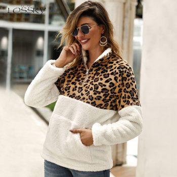 Lossky Winter Sweatshirt Leopard Patchwork Women Long Sleeve Pockets Ladies Plush Tops Zipper Pullover Warm Clothing Female 2019