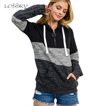 Lossky Top Sweatshirt Zipper Women Long Sleeve Thick Warm Autumn Winter Pullover Clothing Lace-up Drawstring Pink Ladies Hoodies