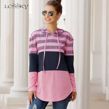 Lossky Women Hoodies Tops Autumn Patchwork Print Pullover Ladies Long Sleeve Hoody Casual Fall Pink Clothes Sweatshirts Lace-up