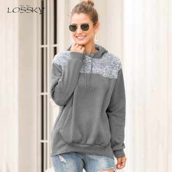 Lossky Women Hoodie Sweatshirst Lace-up Top Long Sleeve Autumn Winter Pocket Pullovers Ladies Loose Japanese Clothing Plus Size
