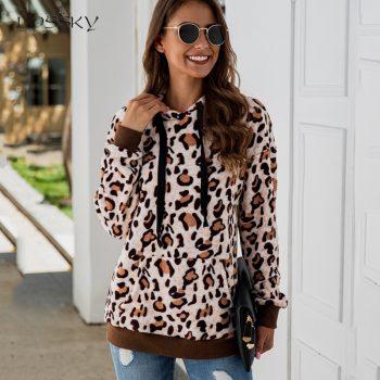 Lossky Hoodie Sweatshirt Tops Women Long Sleeve 2019 Leopard Print Vintage Leisure Ladies Autumn Winter Plush Pullovers Clothing