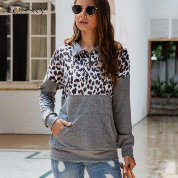 Lossky Pullover Hoodies Women Long Sleeve Hoody Zipper 2019 Autumn Winter Ladies Leopard Top Pockets Vintage Sweatshirt Clothing