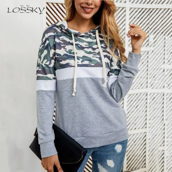 Lossky Women Hoodies Sweatshirt Autumn Winter Camouflage Patchwork Top Ladies Long Sleeve Hoody Pullover 2019 Fall Loose Clothes