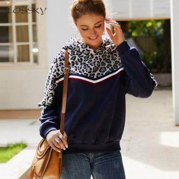 Lossky Black Hoodie Sweatshirts Top Women Long Sleeve Loose Warm Autumn Winter Pullovers 2019 Leopard Patchwork Ladies Clothing