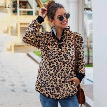 Lossky Sweatshirts Women Autumn Leopard Print Pullovers Pockets Ladies Warm Tops Long Sleeve Fall Winter Vintage Pastel Clothes