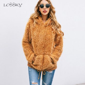 Lossky Autumn Winter Women's Hoodie Sweatshirts Zipper Female Plush Warm Hoodies Long Sleeve Pink Pullovers Top Ladies Clothing