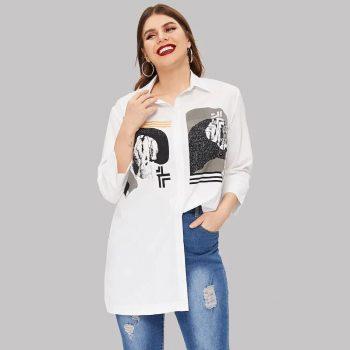 White Shirt Plus Size 2019 Spring Autumn Women Three Quarter Sleeve Retro Printing Elegant Laides Office Shirt Long Blouse Tops