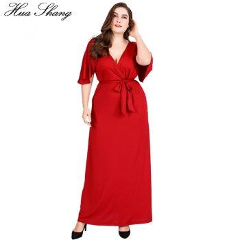 Red Party Dresses For Fat Women Summer Deep V Neck Ruffles Short Sleeve Sexy Long Dress 4xl 5xl 6xl Plus Size Women Clothing