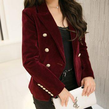 MUMUZI Fashion New Brand Autumn Women Slim Velvet Blazer Jacket Double Breasted Simple Lady Blazers High Grade OL Clothing