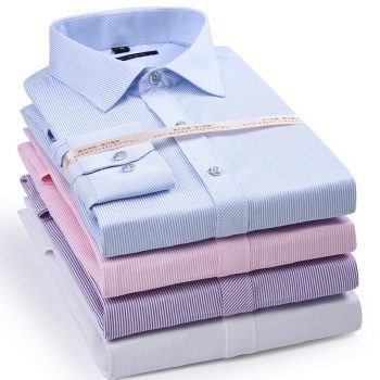 Elastic Stripe Men's Long Sleeve Shirt Dress Casual Shirt Male Social Formal Shirt Slim Fit Design Blue Black Pink 4XL