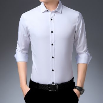 Elastic Bamboo Fiber Men's Long Sleeve Shirt Dress Casual Shirt Male Social Formal Shirt Slim Fit Design Blue Black Pink 4XL