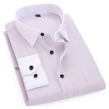 Striped Men Dress Shirt White-collar Design Formal Fashion Long Sleeve Business Men Casual Shirt Regular Fit Big Size 7XL 8XL