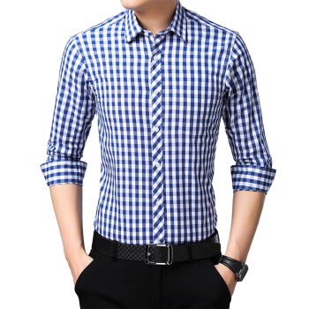 2019 New Men Casual Plaid Shirt High Quality 100% Cotton Long Sleeve Male Shirts Square Grid Social Business Casual Shirt