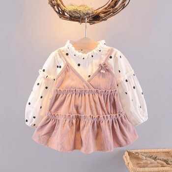 Kids Ruffled Casual Princess Dresses Polka Dot Baby Girls Dress for Girl New Auttmn Long Sleeve Fake 2 Piece Dress