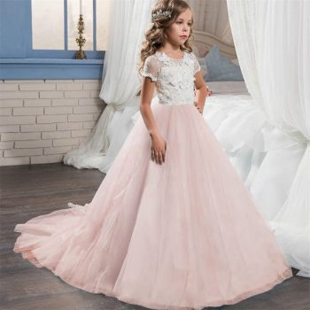 Baby Girls Dress Princess Wedding Flower Girl Tutu Dress Graduation Evening Party Gown Bridesmaid Ball Gown Kids Dress For Girl
