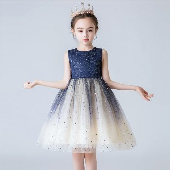Baby Girls Dress Sequined Stars Party Dress New Year Princess Costume Wedding Birthday Teen Prom Gowns Kids Dresses For Girls