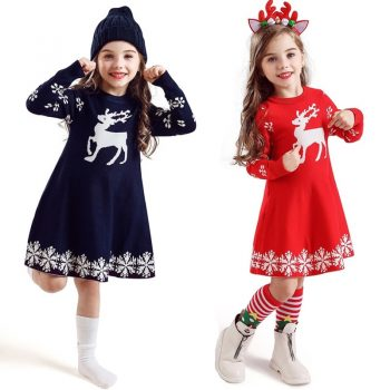 New Year Girls Knitted Dress Autumn Winter Clothes Reindeer Kids Dress for Little Girl Princess Cotton Warm Christmas Dresses