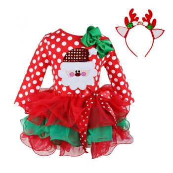 24M Christmas Gift Girls Dress Santa Claus Reindeer Party Costume Baby Girl Winter Snowman Red New Year Girl Children Clothing