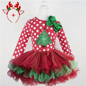 New Polka Dot Christmas Tree Girls Dress Tutu Party Red New Year Costume Winter Long Sleeves Princess Dress Children's Clothing