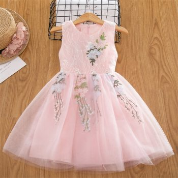 2019 New Summer Girls Dress Kids Girls Embroidery Lace Flower Dress Kids Girl Party Wedding Gowns Children Girl Princess Dress