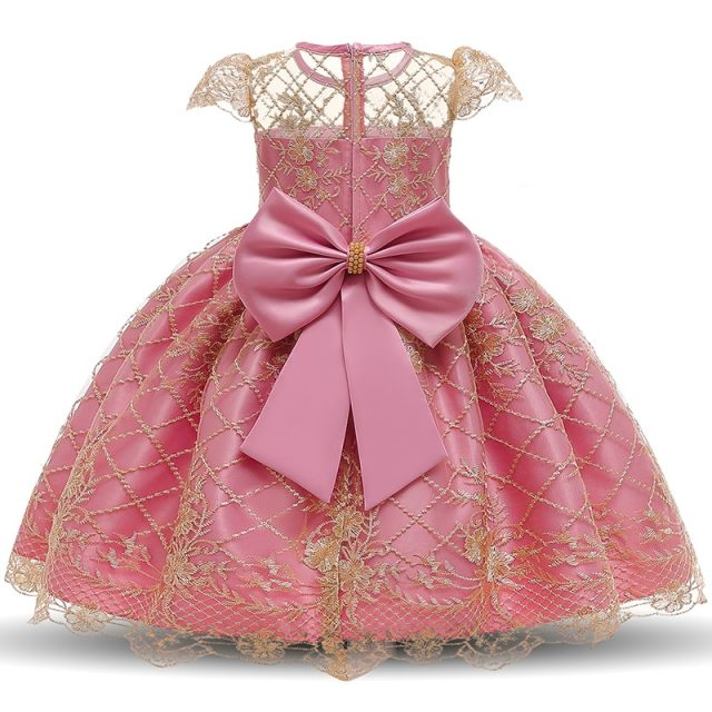 Lace Hollow Out Dresses For Girls Dress Elegent Flower Wedding Dress Backless Big Bow Ball Gown Girls Clothing For 4-10 Years