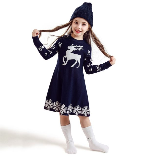 Kids Dresses For Girls Long Sleeve Deer Snowflake Print Dress New Year Costume Princess Dress Kids Christmas Clothes Vestidos