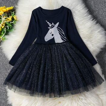 3-8 Years Girls Dress Long Sleeve Kids Unicorn Party Vestidos Fancy Children Princess Dresses Kids Birthday Dress For Girl