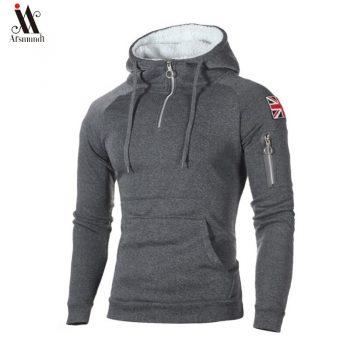 New Fashion Brand  Mens Zipper Hoodies Hip Hop Sweatshirt Autumn  Flag Men Patchwork Hooded Tracksuit Male Hoody Clothing