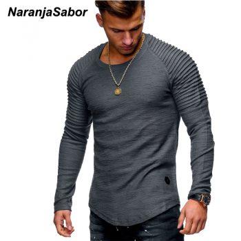 NaranjaSabor New Men's Cutton Hoodies 2019 Autumn Long Sleeve Casual Slim Shirt Mens Brand Clothing Male Sweatshirt 4XL N542