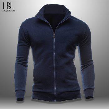 Autumn Men's Sweatshirt Men Casual Zipper Jacket Solid Pullover Hoody Sportswear Stand collar Sweatshirts Slim Fit Hoodies New