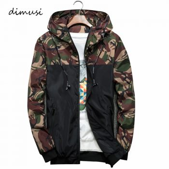 DIMUSI Men's Jackets Spring Autumn Camouflage Military Hooded Coats Casual Zipper Male Thin Windbreaker Mens Brand Clothing 6XL