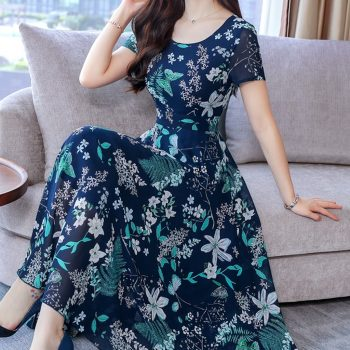 #35 Summer Women'S Dresses Short Sleeve Beach Printing long Dress O-Neck Bohemian Dress Summer Dress Floral Dress Vestido Festa