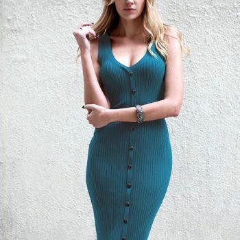 ROPALIA Women Striped Bodycon Dress Deep V Neck Sleeveless Knee Length Casual Lady Dress
