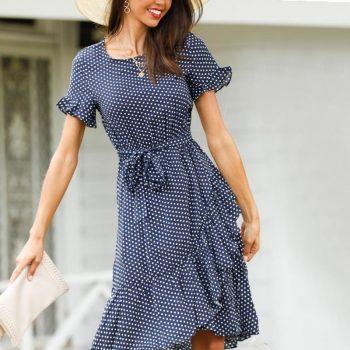 Slim High Waist Irregular Dress Sexy Short Sleeve Dot Print Dress Women Summer Dress