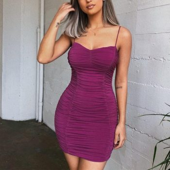 Elegant Women Slim Dress Backless Sexy Summer Dress Nightclub Low-cut Dress